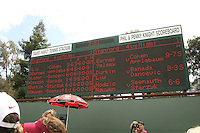 23 May 2006: The scoreboard during Stanford's 4-1 win over the Miami Hurricanes in the 2006 NCAA Division 1 Women's Tennis Team Championships at the Taube Family Tennis Stadium in Stanford, CA.