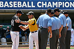 4 JUNE 2016: Greg Brown, Head Coach of Nova Southeastern University and John Shehan, Head Coach of Millersville University shake hands before the Division II Men's Baseball Championship held at the USA Baseball National Training Complex in Cary, NC.  Nova Southeastern University defeated Millersville University 8-6 to win the national title. Grant Halverson/NCAA Photos
