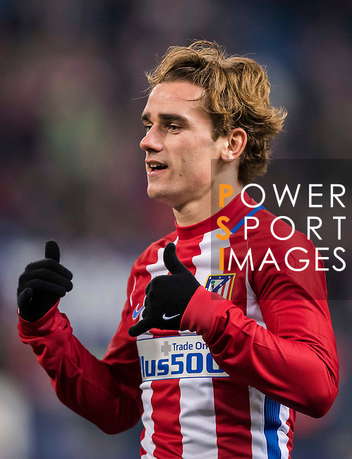 Antoine Griezmann of Atletico de Madrid celebrates scoring during their Copa del Rey 2016-17 Round of 16 match between Atletico de Madrid and UD Las Palmas at the Vicente Calderón Stadium on 10 January 2017 in Madrid, Spain. Photo by Diego Gonzalez Souto / Power Sport Images