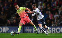 Preston North End's Tom Barkhuizen battles with Manchester City's Taylor Harwood-Bellis<br /> <br /> Photographer Dave Howarth/CameraSport<br /> <br /> The Carabao Cup Third Round - Preston North End v Manchester City - Tuesday 24th September 2019 - Deepdale Stadium - Preston<br />  <br /> World Copyright © 2019 CameraSport. All rights reserved. 43 Linden Ave. Countesthorpe. Leicester. England. LE8 5PG - Tel: +44 (0) 116 277 4147 - admin@camerasport.com - www.camerasport.com