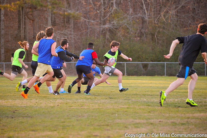 The Ole Miss Rugby Football Club practices in preparation for a match at the intramural fields. Photo by Robert Jordan/Ole Miss Communications