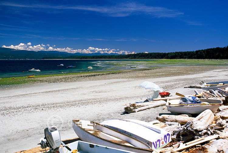Savary Island, Northern Gulf Islands, BC, British Columbia, Canada - Beach at Indian Point along Georgia Strait, Pacific Ocean