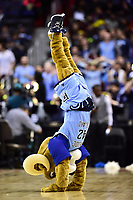 Washington, DC - MAR 11, 2018: Rhode Island Rams mascot does a handstand during a timeout during the Atlantic 10 men's basketball championship between Davidson and Rhode Island at the Capital One Arena in Washington, DC. (Photo by Phil Peters/Media Images International)