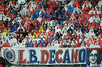 MEDELLIN - COLOMBIA: 16 - 05 - 2017: Los hinchas de Deportivo Independiente Medellin, animan a su equipo, durante partido de la fase de grupos, grupo 3, fecha 5 entre Deportivo Independiente Medellin de Colombia y Emelec de Ecuador por la Copa  Conmebol Libertadores Bridgestone 2017 en el Estadio Atanasio Girardot, de la ciudad de Medellin. / Fans of Deportivo Independiente Medellin, cheer for their team during a match between Deportivo Independiente Medellin of Colombia and Emelec of Ecuador, for the group stage, group 3 of the date 5th, for the Conmebol Libertadores Bridgestone Cup 2017, at the Atanasio Girardot, Stadium, in Medellin city. Photos: VizzorImage / Leon Monsalve / Cont.