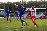 Perry Ng of Crewe Alexandra and John Goddard of Stevenage during Stevenage vs Crewe Alexandra, Sky Bet EFL League 2 Football at the Lamex Stadium on 10th March 2018