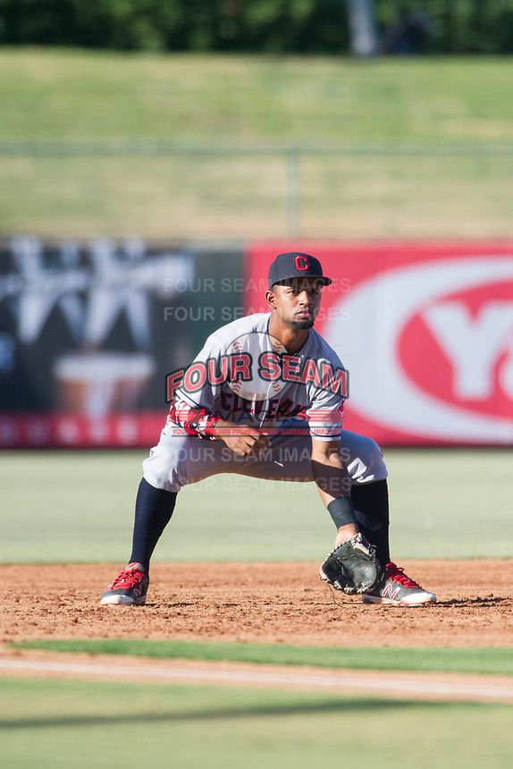 AZL Indians third baseman Wilbis Santiago (50) on defense during a game against the AZL Angels on August 7, 2017 at Tempe Diablo Stadium in Tempe, Arizona. AZL Indians defeated the AZL Angels 5-3. (Zachary Lucy/Four Seam Images)