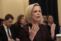 WASHINGTON, DC - March 06, 2019: Homeland Security Secretary Kirstjen Nielsen testifies during a House Security Committee hearing regarding to The Way Forward on Border Security in Washington DC, March 06, 2019. (Photo by Lenin Nolly/Media Images International)