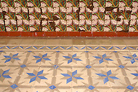 Floor and wall tiles  in the Spanish colonial river town of Tlacotalpan, Veracruz, Mexico. Tlacotlapan was made a UNESCO World Heritage Site in 1998.