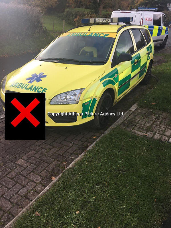 """Pictured: The """"fake"""" ambulance vehicle police stopped being driven by a 19 year old man in Penclawdd near Swansea, Wales, UK.<br /> Re: A """"fake"""" ambulance was pulled over police as it was being driven by a man in Swansea, south Wales.<br /> The Ford Focus estate car, covered in highly-visible paint and logos, was stopped in the Penclawdd area, Gower, on Monday.<br /> The unnamed driver, 19, was held on suspicion of driving while being disqualified, with no insurance and other offences.<br /> The Welsh Ambulance Service confirmed it was not one of its vehicles and the driver was not an employee."""