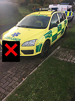 "Pictured: The ""fake"" ambulance vehicle police stopped being driven by a 19 year old man in Penclawdd near Swansea, Wales, UK.<br /> Re: A ""fake"" ambulance was pulled over police as it was being driven by a man in Swansea, south Wales.<br /> The Ford Focus estate car, covered in highly-visible paint and logos, was stopped in the Penclawdd area, Gower, on Monday.<br /> The unnamed driver, 19, was held on suspicion of driving while being disqualified, with no insurance and other offences.<br /> The Welsh Ambulance Service confirmed it was not one of its vehicles and the driver was not an employee."