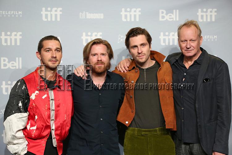 Shia LaBeouf, director Janus Metz, Sverrir Gudnason and Stellan Skarsgard attend the 'Borg/McEnroe' press conference during the 2017 Toronto International Film Festival at TIFF Bell Lightbox on September 7, 2017 in Toronto, Canada.