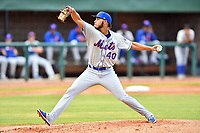Kingsport Mets starting pitcher Cesar Loaiza (40) delivers a pitch during a game against the Elizabethton Twins at Joe O'Brien Field on July 6, 2019 in Elizabethton, Tennessee. The Twins defeated the Mets 5-3. (Tony Farlow/Four Seam Images)