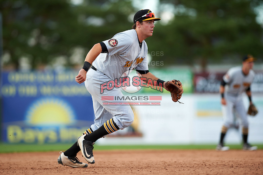 West Virginia Black Bears third baseman Will Craig (28) during a game against the Batavia Muckdogs on August 21, 2016 at Dwyer Stadium in Batavia, New York.  West Virginia defeated Batavia 6-5.  (Mike Janes/Four Seam Images)