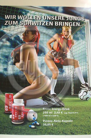 BERLIN - GERMANY 13. MAY 2006 -- Erotic store Beate Uhse have prepared the shop windows for the soccer world cup. -- PHOTO: GORM K. GAARE / EUP- IMAGES ...