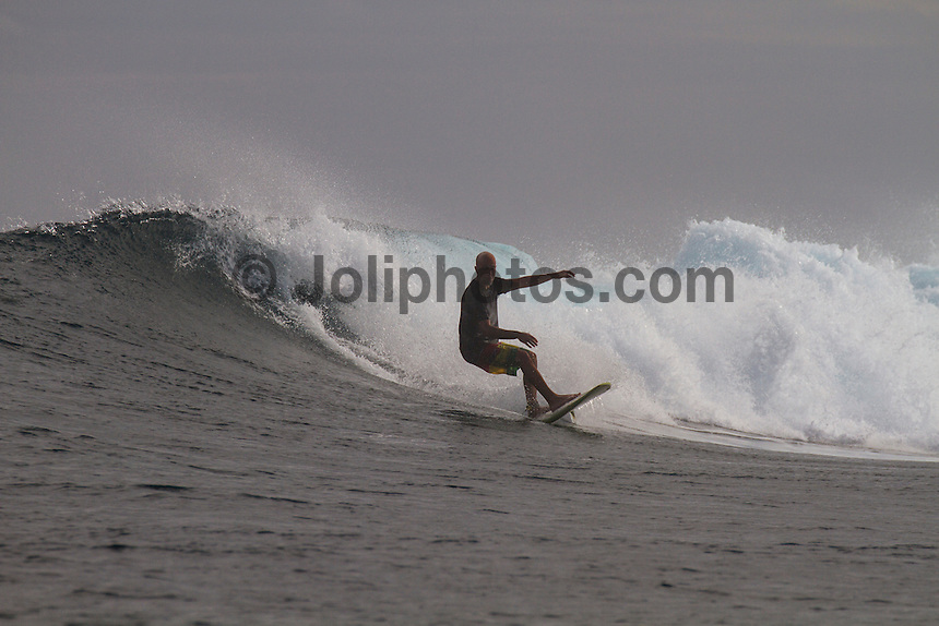 Namotu Island Resort, Fiji. (Sunday, May 13, 2012) -  The wind had dropped today and the cloud cover lifted. There were waves at Cloudbreak, Namotu Lefts, Wilkes and Swimming Pools while the fish were also biting..Photo: joliphotos.com