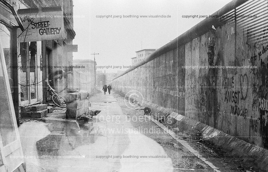 West Germany, Berlin, the wall in year 1988, wall street gallery, double exposure