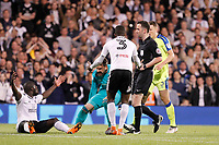 Aboubakar Kamara of Fulham appeals for the foul during the Sky Bet Championship play off semi final 2nd leg match between Fulham and Derby County at Craven Cottage, London, England on 15 May 2018. Photo by Carlton Myrie / PRiME Media Images.