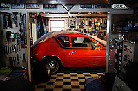 Reinholds, Pennsylvania, February 10, 2015 - Brian Moyer's 1970 AMi (Australian Motor Industries) Gremlin in one of his garages. This one-of-a-kind car is the only one produced by AMI - used to sell the Gremlin to the Australian market it never took off due, Moyer says, to the limited space of the second row. He is still in the process of fully restoring it. <br /> <br /> Moyer owns 16 AMC Gremlins. The Gremlin was introduced on April Fools Day (April 1) in 1970 featuring a shortened Hornet body with a Kammback tail and was manufactured in the US via AMC and in Mexico via AMC's subsidiary VAM. It's lifecycle ended in 1978 when it was replaced by the AMC Spirit. Moyer became interested as a kid when he saw the early Gremlin commercials in 1970. His first car was a Gremlin and he has never not owned one. Today he has arguably the most unique collection of Gremlins in the world, including several that are one-of-a kind models. <br /> <br /> CREDIT: Daryl Peveto for The Wall Street Journal<br /> Photo Assignment ID: 36892 <br /> Slug: MYRIDE_Gremlin