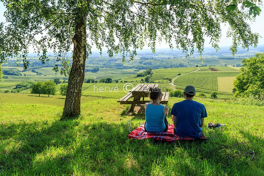 France, Jura (39), Pupillin, vue sur le vignoble et touristes