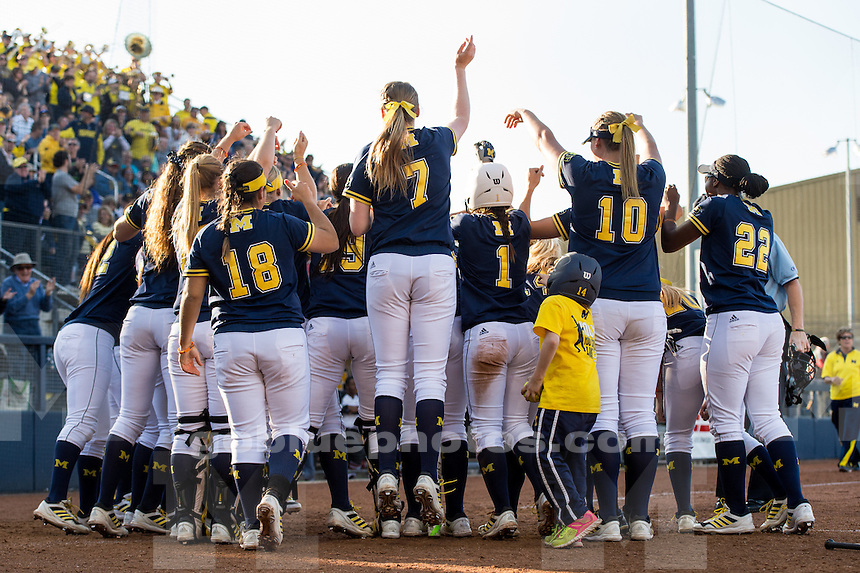 The University of Michigan softball team defeats Georgia, 7-6, to win the Ann Arbor Super Regional at Wilpon Softball Complex in Ann Arbor, Mich. on May 22, 2015.