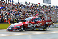 Sept. 22, 2012; Ennis, TX, USA: NHRA funny car driver Cruz Pedregon during qualifying for the Fall Nationals at the Texas Motorplex. Mandatory Credit: Mark J. Rebilas-US PRESSWIRE