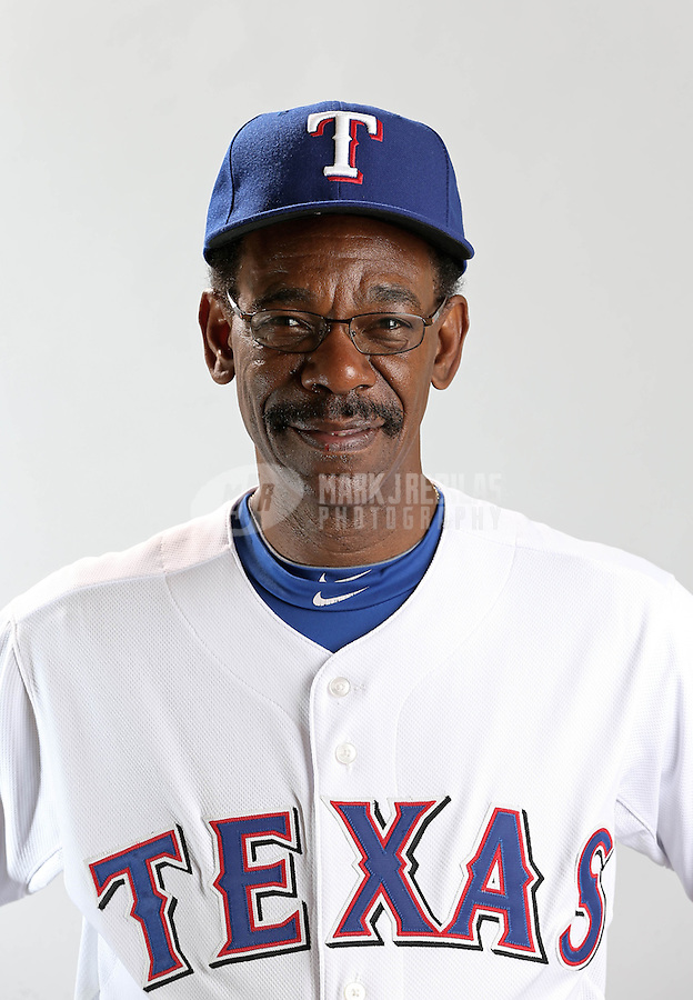 Feb. 20, 2013; Surprise, AZ, USA: Texas Rangers manager Ron Washington poses for a portrait during photo day at Surprise Stadium. Mandatory Credit: Mark J. Rebilas-