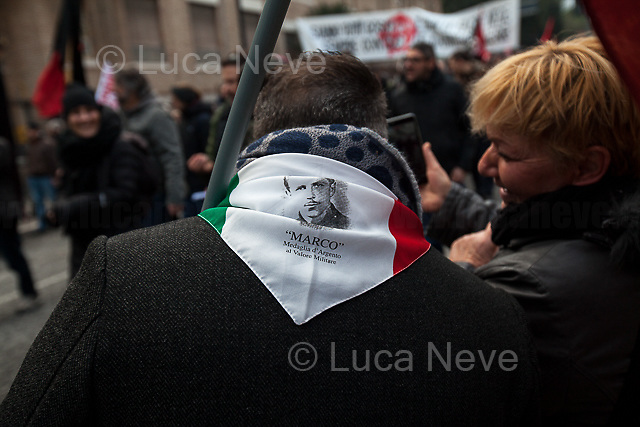 """Macerata (Marche, Italy), 10/02/2018. Today, tens of thousands of people (30,000 for the organisers, 10,000 for the police forces) marched peacefully in Macerata – and in several other cities across Italy – to protest and fight against a revival of neo-fascist sentiment (with the ongoing electoral campaign for the 4th of March Italian General Election mainly based on the so-called """"Migrant Crisis""""), against racism, to show support and solidarity with the 6 African migrants wounded - Mahamadou Toure, Jennifer Otioto, Gideon Azeke, Wilson Kofi, Festus Omagbon, Omar Fadera – on the 3rd February 2018 by the far-right gunman Luca Traini. Initially, the protest was banned by the Mayor of Macerata supported by the Secretary of State (Ministro degli Interni) Marco Minniti due to risk of """"disorders and clashes"""", but at the end protesters and institutions agreed to go ahead with the march set up on the road which surrounds Macerata's city centre. From an online article of """"The Guardian"""" (http://bit.ly/2nXgR8I): . <br /> <br /> For more information please click here: http://bit.ly/2EAbTsP  <br /> <br /> For a video of the event by RAI TG3 please click here: http://bit.ly/2EfZNBD"""