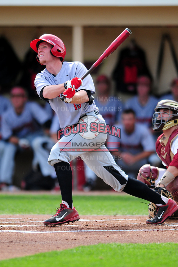 University of Hartford Hawks first baseman David MacKinnon (19) during a game versus the Boston College Eagles at Pellagrini Diamond at Shea Field on May 9, 2015 in Chestnut Hill, Massachusetts.  (Ken Babbitt/Four Seam Images)