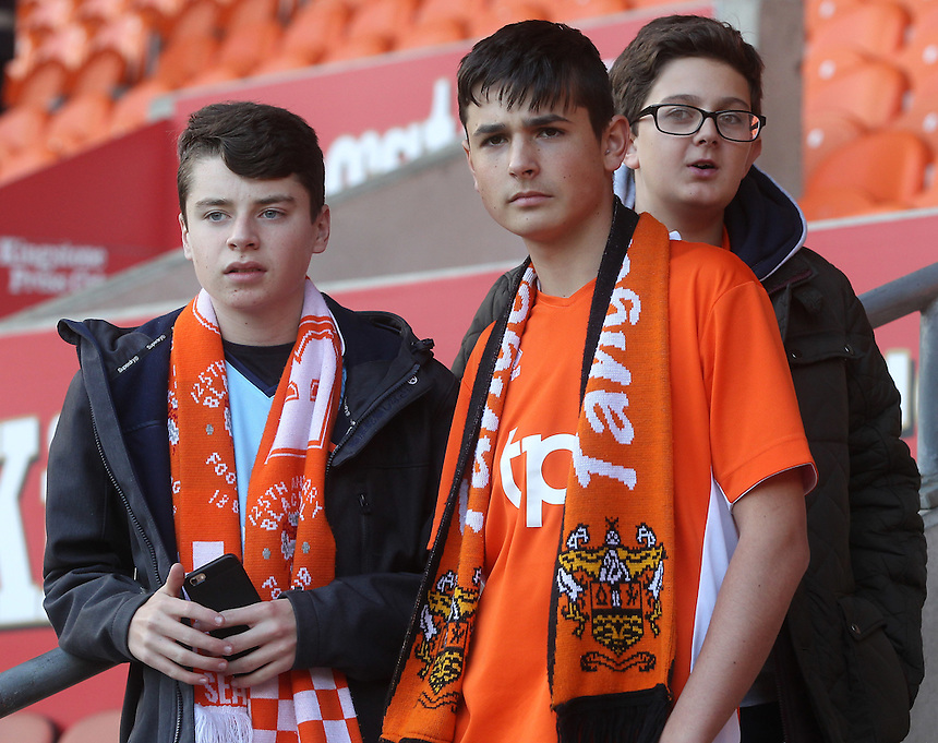 Blackpool Football Club's Fans await the kick off<br /> <br /> Photographer Mick Walker/CameraSport<br /> <br /> The EFL Sky Bet League Two - Blackpool v Doncaster Rovers - Saturday 22nd October 2016 - Bloomfield Road - Blackpool<br /> <br /> World Copyright &copy; 2016 CameraSport. All rights reserved. 43 Linden Ave. Countesthorpe. Leicester. England. LE8 5PG - Tel: +44 (0) 116 277 4147 - admin@camerasport.com - www.camerasport.com
