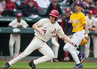 NWA Democrat-Gazette/BEN GOFF @NWABENGOFF<br /> Heston Kjerstad, Arkansas right fielder, dashes back to third base to avoid getting caught in a rundown in the 2nd inning vs LSU Saturday, May 11, 2019, at Baum-Walker Stadium in Fayetteville.