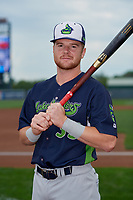 Vermont Lake Monsters Kyle McCann (33) poses for a photo before a NY-Penn League game against the Aberdeen IronBirds on August 18, 2019 at Leidos Field at Ripken Stadium in Aberdeen, Maryland.  Vermont defeated Aberdeen 6-5.  (Mike Janes/Four Seam Images)