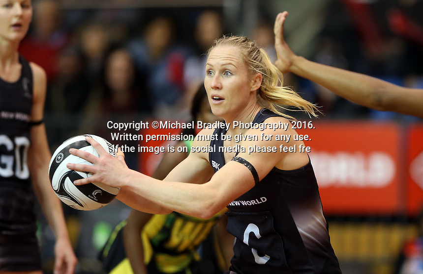 11.09.2016 Silver Ferns Laura Langman in action during the Taini Jamison netball match between the Silver Ferns and Jamaica played at Trafalgar Centre in Nelson. Mandatory Photo Credit ©Michael Bradley.