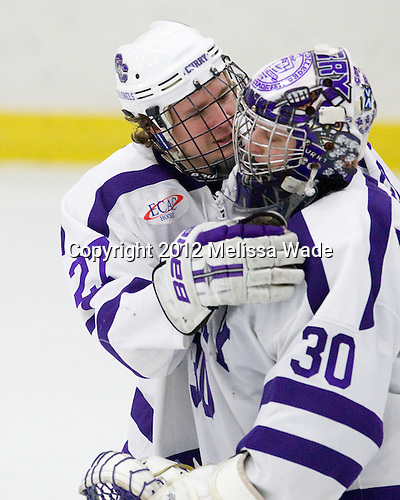 Braeden Ruud (Curry - 27), Derek Mohney (Curry - 30) - The Curry College Colonels defeated the Johnson & Wales University Wildcats 5-4 on Curry's senior night on Saturday, February 18, 2012, at Max Ulin Rink in Milton, Massachusetts.