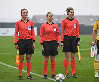20190409 - TUBIZE , Belgium : Dutch assistant refere Nicolet Bakker (r) , Dutch referee Lizzy Van Der Helm and Kazach assistant referee Elena Alistratova (left) pictured during a women soccer game between the under 19 teams of Belgium and Poland. This is the Third and final game in their elite round qualification for the European Championship in Schotland 2019. The Belgian national women's soccer team is called the Red Flames, on the 9 th of April in Tubize. PHOTO DAVID CATRY | Sportpix.be