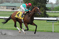 Went the Day Well (no. 4), ridden by John Velazquez and trained by H. Graham Motion, wins the 41st running of the grade 3 Spiral Stakes for three year olds on March 24, 2012 at Turfway Park in Florence, Kentucky.  (Bob Mayberger/Eclipse Sportswire)