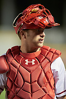 Harrisburg Senators catcher Spencer Kieboom (14) walks to the dugout after a game against the Bowie Baysox on May 16, 2017 at FNB Field in Harrisburg, Pennsylvania.  Bowie defeated Harrisburg 6-4.  (Mike Janes/Four Seam Images)