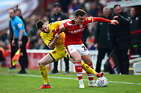 Fleetwood Town's James Husband battles with Barnsley's Callum Styles<br /> <br /> Photographer Richard Martin-Roberts/CameraSport<br /> <br /> The EFL Sky Bet League One - Barnsley v Fleetwood Town - Saturday 13th April 2019 - Oakwell - Barnsley<br /> <br /> World Copyright &copy; 2019 CameraSport. All rights reserved. 43 Linden Ave. Countesthorpe. Leicester. England. LE8 5PG - Tel: +44 (0) 116 277 4147 - admin@camerasport.com - www.camerasport.com