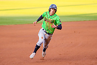 Lake County Captains shortstop Tyler Freeman (7) races to third base during a Midwest League game against the Wisconsin Timber Rattlers on May 10, 2019 at Fox Cities Stadium in Appleton, Wisconsin. Wisconsin defeated Lake County 5-4. (Brad Krause/Four Seam Images)