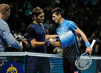 Roger Federer (SUI) and Novak Djokovic (SRB)\shake hands during Day Three of the Barclays ATP World Tour Finals 2015 played at The O2, London on November 17th 2015
