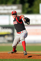 Batavia Muckdogs pitcher Brian Ellington #11 during a game versus the Lowell Spinners at LeLacheur Park in Lowell, Massachusetts on August 3, 2013. (Ken Babbitt/Four Seam Images)