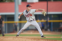 Danville Braves relief pitcher Zach Daniels (48) in action against the Burlington Royals at Burlington Athletic Stadium on August 9, 2019 in Burlington, North Carolina. The Royals defeated the Braves 6-0. (Brian Westerholt/Four Seam Images)