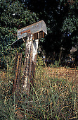 Maui, Hawaii. Dilapidated metal post box on wooden post on overgrown plot of land in Lahaina town.