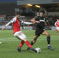 Fleetwood Town's Ched Evans gets a shot on goal<br /> <br /> Photographer Mick Walker/CameraSport<br /> <br /> Emirates FA Cup Third Round - Fleetwood Town v AFC Wimbledon - Saturday 5th January 2019 - Highbury Stadium - Fleetwood<br />  <br /> World Copyright © 2019 CameraSport. All rights reserved. 43 Linden Ave. Countesthorpe. Leicester. England. LE8 5PG - Tel: +44 (0) 116 277 4147 - admin@camerasport.com - www.camerasport.com