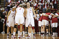 SACRAMENTO, CA - MARCH 29: Rosalyn Gold-Onwude, Kayla Pedersen and the team huddle during Stanford's 55-53 win over Xavier in the NCAA Women's Basketball Championship Elite Eight on March 29, 2010 at Arco Arena in Sacramento, California.