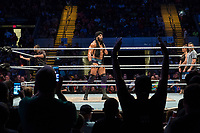 WWE Champion Jinder Mahal speaks to the crowd before his match against Randy Orton at a WWE Live Summerslam Heatwave Tour event at the MassMutual Center in Springfield, Massachusetts, USA, on Mon., Aug. 14, 2017. Mahal lost the match.