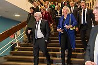 """Bundespraesident Frank-Walter Steinmeier (vorne links) hat am Mittwochabend (16.01.2019) die bundesweiten Feierlichkeiten zum Bauhaus-Jubilaeum 2019 eroeffnet.<br /> Im Bild: Steinmeier zusammen mit Bettina Wagner-Bergelt, Direktorin am Tanztheater Wuppertal.<br /> Bei der Auftaktveranstaltung unter dem Motto """"100 jahre bauhaus"""" in der Akademie der Kuenste in Berlin, wuerdigte Steinmeier das Bauhaus als eine der """"bedeutendsten und weltweit wirkungsvollsten kulturellen Hervorbringungen unseres Landes"""". Die Feierlichkeiten zum Bauhaus-Jubilaeum 2019 stehen unter dem Titel """"Die Welt neu denken"""". Dazu sind in den kommenden Monaten rund 700 Veranstaltungen in elf Bundeslaendern geplant. Im Fokus stehen unter anderem die zentralen Wirkungsstaetten in Weimar, Dessau und Berlin.<br /> 16.1.2019, Berlin<br /> Copyright: Christian-Ditsch.de<br /> [Inhaltsveraendernde Manipulation des Fotos nur nach ausdruecklicher Genehmigung des Fotografen. Vereinbarungen ueber Abtretung von Persoenlichkeitsrechten/Model Release der abgebildeten Person/Personen liegen nicht vor. NO MODEL RELEASE! Nur fuer Redaktionelle Zwecke. Don't publish without copyright Christian-Ditsch.de, Veroeffentlichung nur mit Fotografennennung, sowie gegen Honorar, MwSt. und Beleg. Konto: I N G - D i B a, IBAN DE58500105175400192269, BIC INGDDEFFXXX, Kontakt: post@christian-ditsch.de<br /> Bei der Bearbeitung der Dateiinformationen darf die Urheberkennzeichnung in den EXIF- und  IPTC-Daten nicht entfernt werden, diese sind in digitalen Medien nach §95c UrhG rechtlich geschuetzt. Der Urhebervermerk wird gemaess §13 UrhG verlangt.]"""