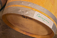 An oak barrel marked with Carmenere, an unusual grape variety in Bordeaux, almost on its way to disappear  Chateau de Pressac St Etienne de Lisse  Saint Emilion  Bordeaux Gironde Aquitaine France
