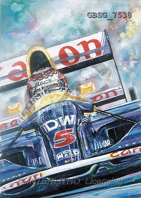 Ron, MASCULIN, paintings, blue racing car(GBSG7538,#M#)