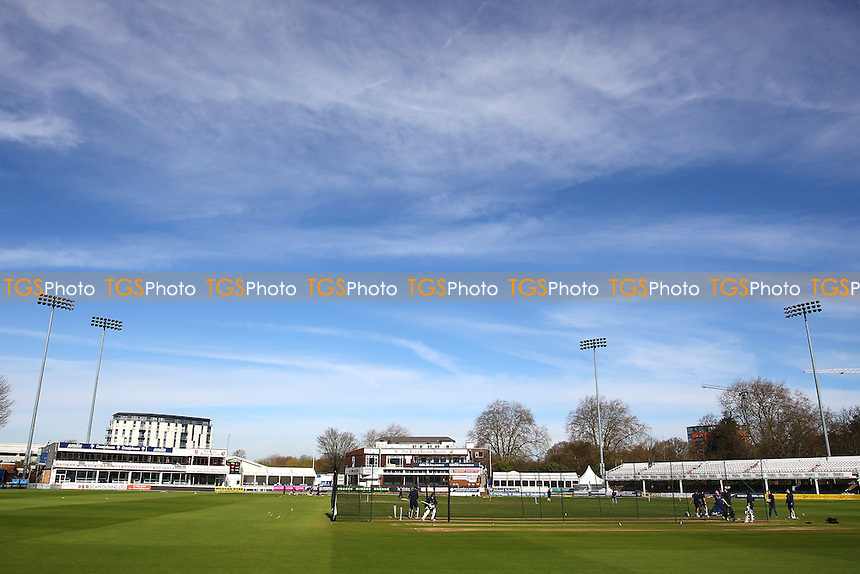 General view of the ground as players warm up ahead of Essex CCC vs Gloucestershire CCC, Specsavers County Championship Division 2 Cricket at the Essex County Ground on 13th April 2016