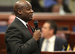 Nevada Assemblyman Kelvin Atkinson, D-North Las Vegas, speaks on the Assembly floor at the Legislature in Carson City, Nev. on Friday, Feb. 25, 2011..Photo by Cathleen Allison
